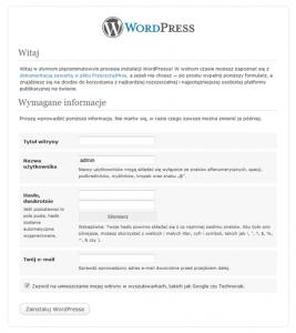 Konfiguracja WordPress - informacje o stronie